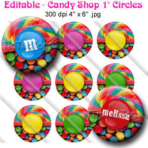 Editable - Candy Shop Bottle Cap Digital Images 1 Inch Circle Lollipop M's - $3.00