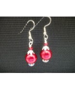HANDCRAFTED SWAROVSKI RED PEARL EARRINGS  - $10.00