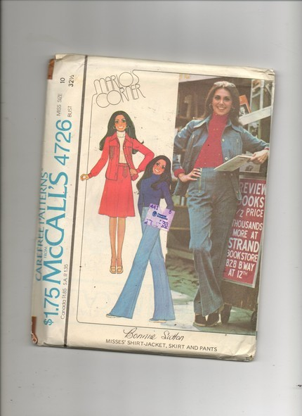 McCall's 4726 Marlo Thomas Jacket Skirt Pants Miss 8 1975 Bonanza