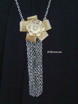 New GUESS in Gold Silver Flower Rhinestone Necklace - $20.00