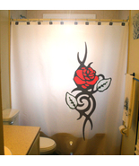 SHOWER CURTAIN Flowers Floral Red Rose Leaf Leaves love - $75.00