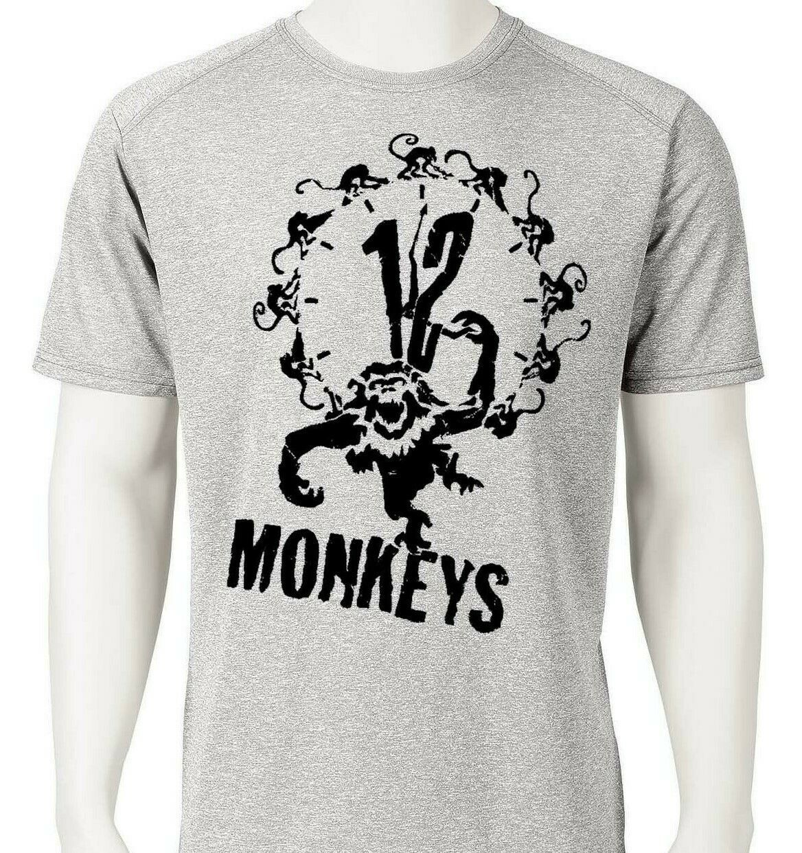 12 Monkeys Dri Fit graphic T-shirt retro 90s sci fi movie SPF active sun shirt