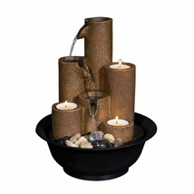 WCT202 Tiered Column Tabletop Fountain w/ 3 Candles, 11 Inch Tall, Brown - $63.63