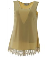 Joan Rivers Jersey Knit Tank Shimmering Crochet Hem Champagne 3X NEW A29... - $34.63