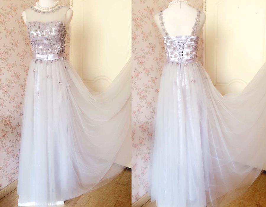 GRAY A-line Embroidery Flower Sweetheart Tulle Gray Bridesmaid Wedding Dresses