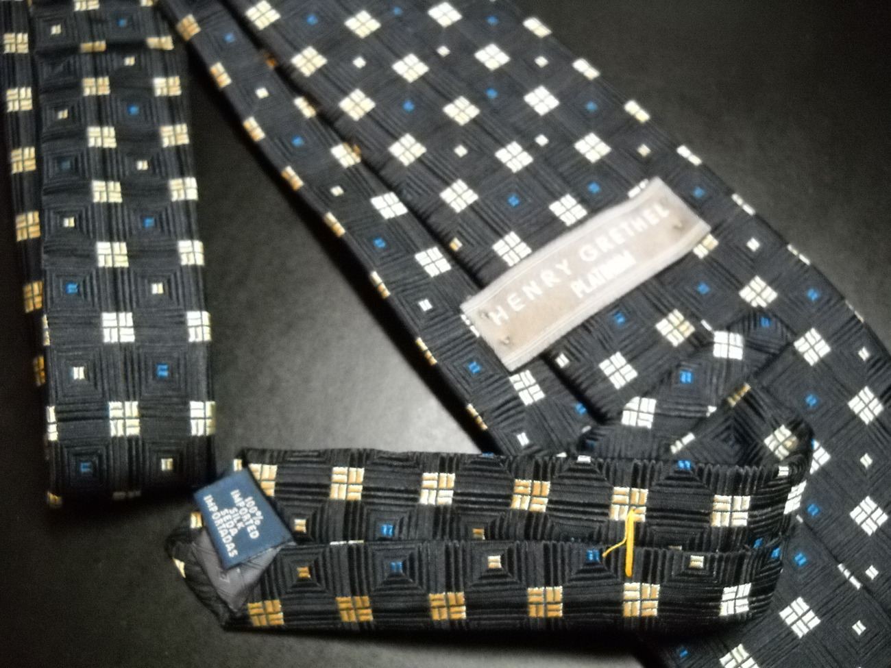 Henry Grethel Platinum Neck Tie Imported Silk Boxes in Boxes Black Blue and Gold