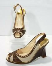 Cole Haan Air Slingback Peep Toe Wedge Pumps Gold Circles Womens 6B Gray Brown - $18.69