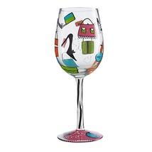 Lolita Shopaholic Too Love My Wine Hand Painted Glass In Box High Heels ... - $34.60