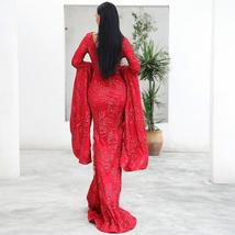 New Arrival Top Quality ONeck Flare Long Sleeve Celebrity Red Party Dress image 4