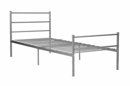 Twin Full Size Silver Metal Platform Bed Frame Headboard Footboard Found... - $122.90