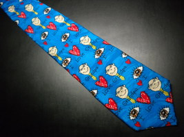 Ralph Marlin RM Style Neck Tie I Love Grandpa Repeat Bright Blues Hearts Grandpa image 1