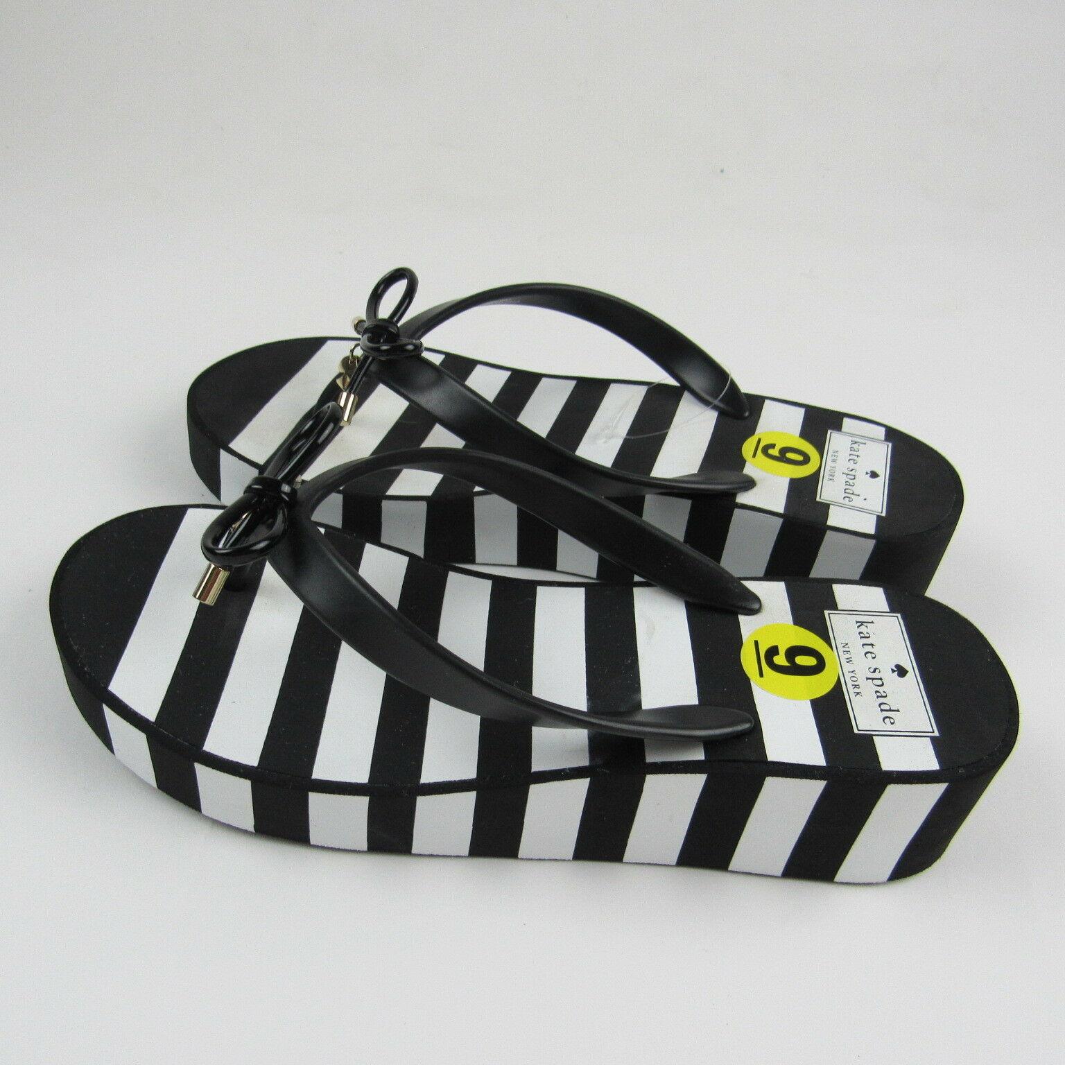 2807587c1 Kate Spade Womens Flip Flops Sandals Black White Striped Platform Thong Bow