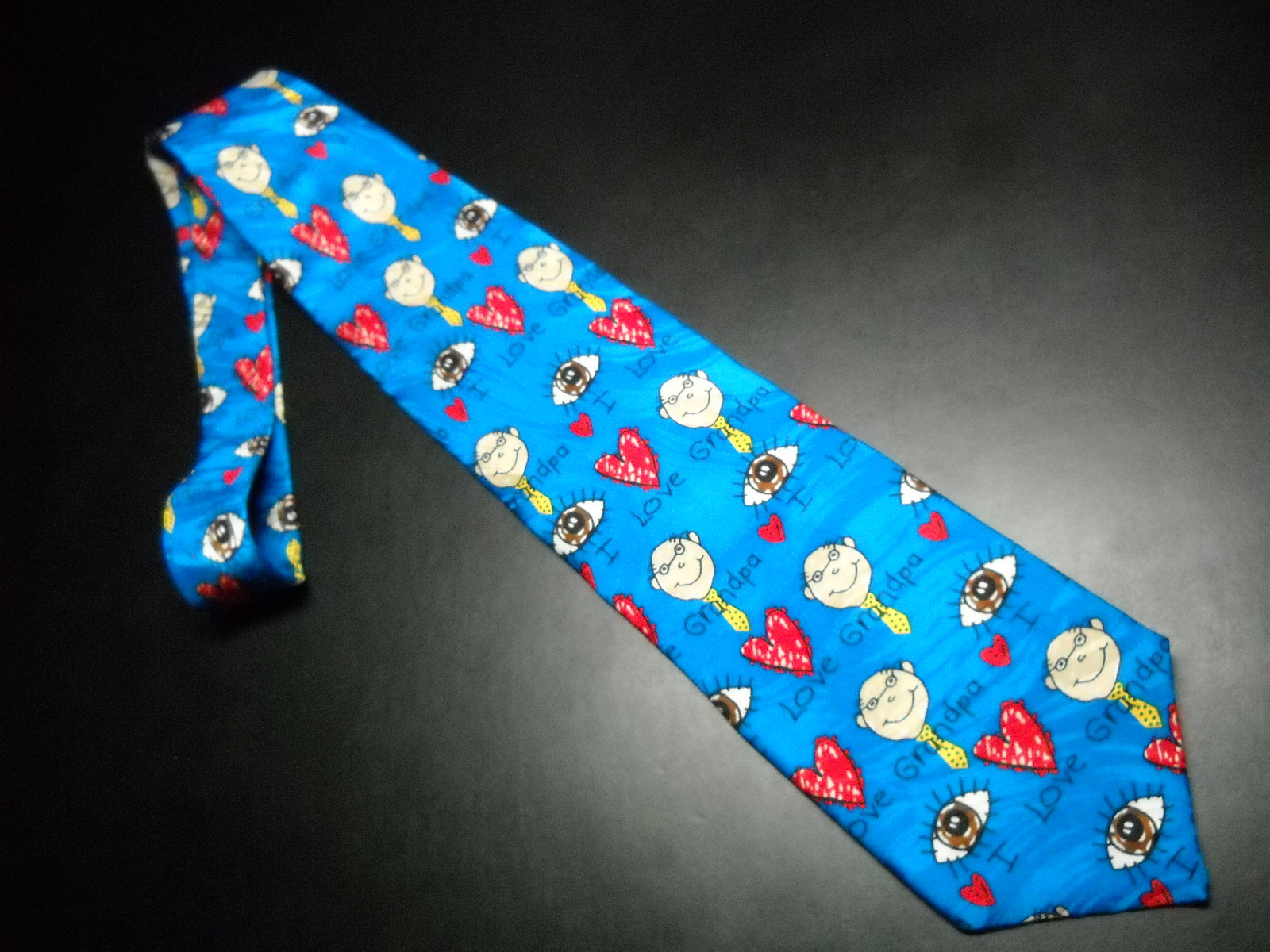 Ralph Marlin RM Style Neck Tie I Love Grandpa Repeat Bright Blues Hearts Grandpa image 2
