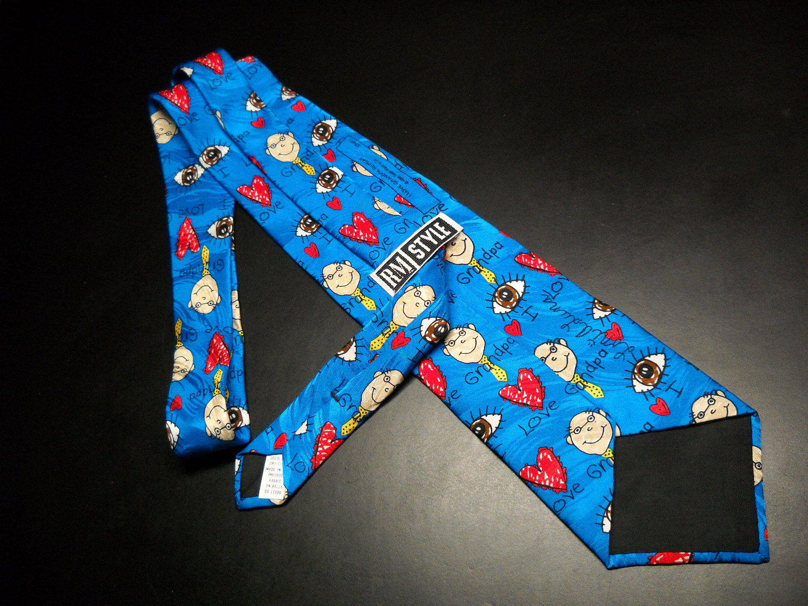 Ralph Marlin RM Style Neck Tie I Love Grandpa Repeat Bright Blues Hearts Grandpa