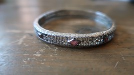 "Antique MARATHON Pink Stone Art Deco Ornate Bracelet 2"" inner diameter - $69.29"