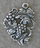 Antiqued S/P Grape + Leaf with Top Ring - 6 Pc Lot - $4.00