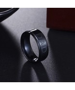 New Mens 7mm Black Titanium DAD Ring Engraved Love You Dad In Gift Pouch - $23.59