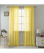"""SET OF 2 SHEER VOILE TAILORED CURTAINS 90"""" LONG BRIGHT YELLOW - $17.81"""