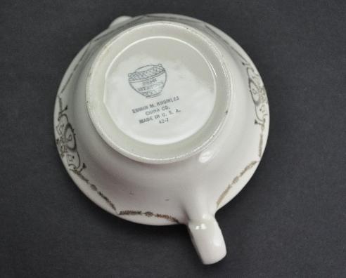 Edwin M Knowles 1942 Gravy Boat Creamer Gold Trim