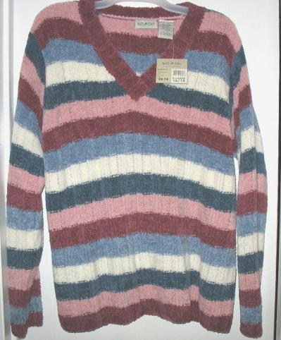White Stag Long-Sleeve Striped V-Neck Sweater