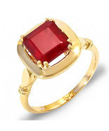 Estate ring 3.6 ct natural ruby solitare 14k gold - $635.00