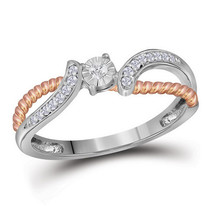 10k White Gold Round Diamond Rose-tone Rope Bridal Wedding Engagement Ring - £189.66 GBP