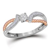 10k White Gold Round Diamond Rose-tone Rope Bridal Wedding Engagement Ring - £185.15 GBP
