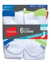 6-Pack Hanes Boys Crew ComfortBlend Socks  - White - Size S-L - $13.29