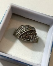 Grandmas Estate Marked 925 Silver Marcasite Dome Ring Size 7 Weight 9 Grams - £63.00 GBP