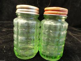 Vintage Green Hazel Atlas #30 Salt Pepper Shaker set AS IS - $23.99
