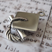 Graduation Cap Charm Vintage Shube's - Made in the USA - Sterling Silver - $12.00
