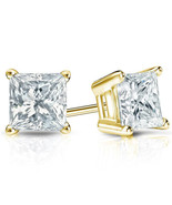 BRAND NEW Princess Cut 1.5 ct 14 K Yellow Gold Stud Earrings~Includes Gi... - $39.99