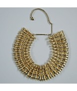 Vintage Mosell Collar Necklace 1950 Egyptian Revival Wide 14 18in goldtone - $128.69