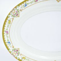 Meito China Blue Yellow & Pink Flower Gold Accent Oval Serving Platter image 3