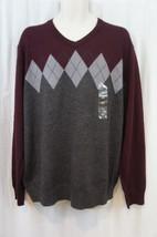 Club Room Mens Sweater Sz XXL Red Plum Argyle Print Merino Wool Blend Ca... - €35,83 EUR