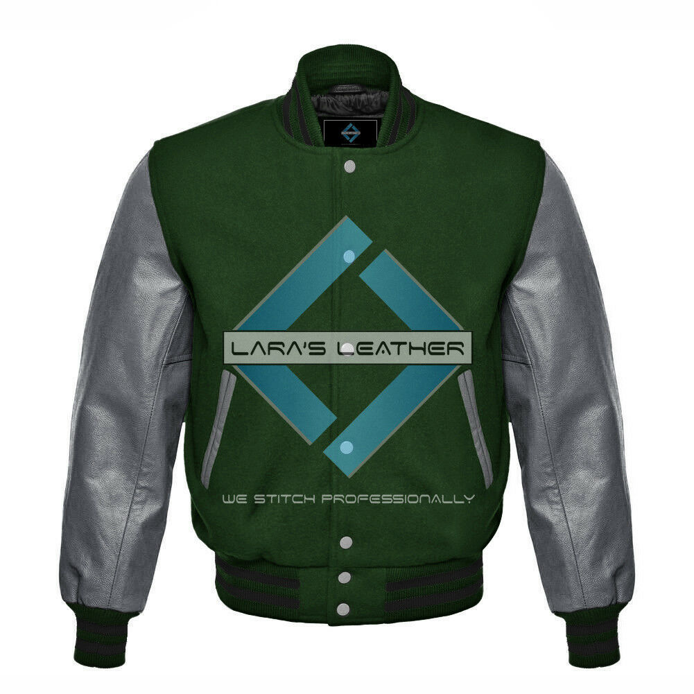 Primary image for Unisex Letterman Varsity College Green Wool Jacket with Gray Real Leather Sleeve