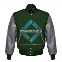 Unisex Letterman Varsity College Green Wool Jacket with Gray Real Leathe... - $77.51+