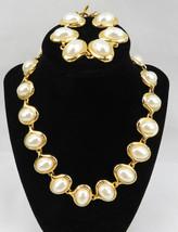 Vintage Costume Jewelry Faux Pearls Gold Tone Retro Necklace & Bracelet - $60.00