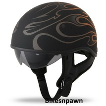 New L Flat Black/Orange Fly Racing DOT Approved .357 Motorcycle Half Helmet image 1