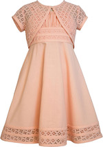 Bonnie Jean Little Girl 2T-6X Peach Linen and Lace Fit Flare Dress/Jacket Set