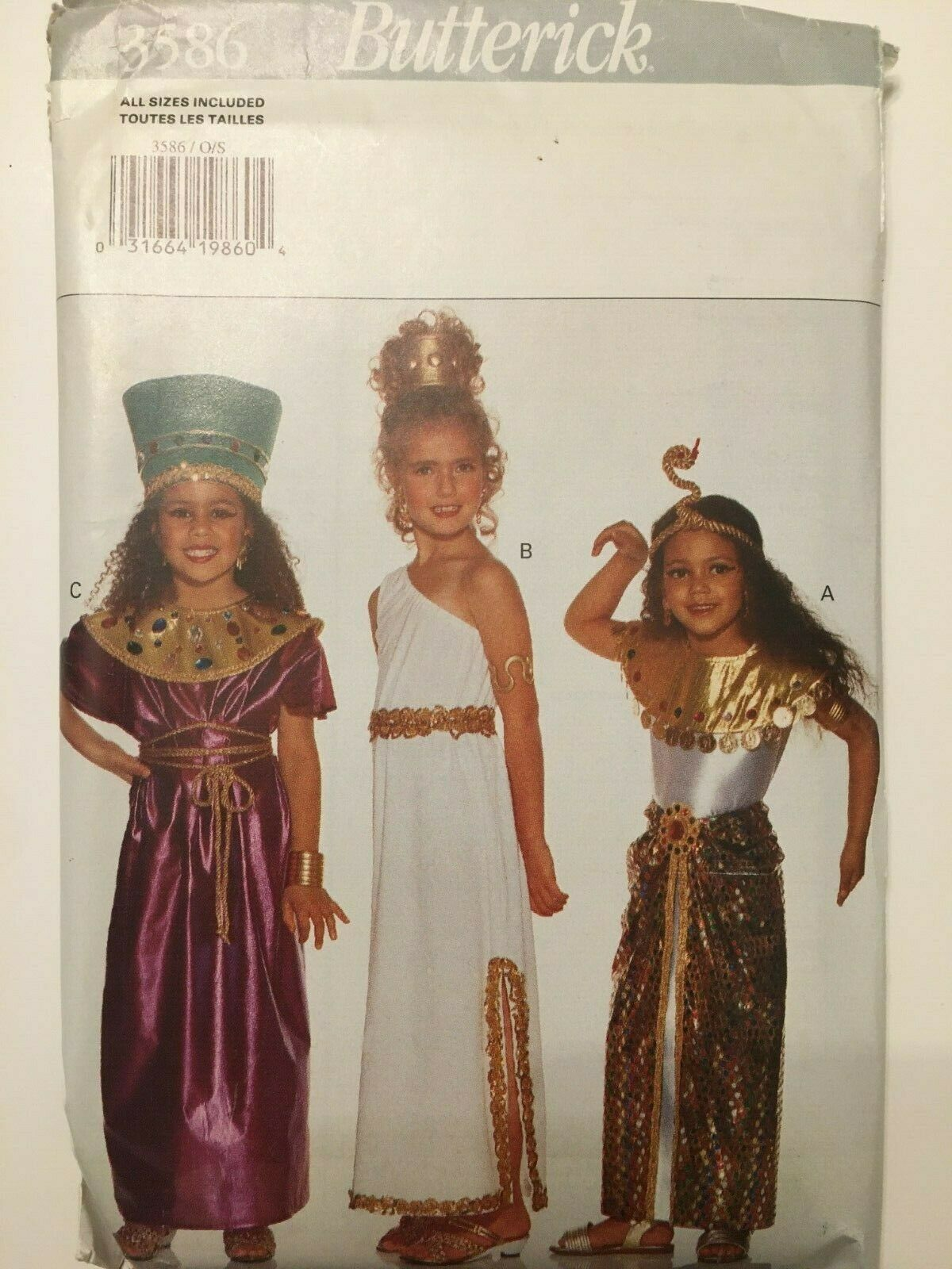 Primary image for Butterick Sewing Pattern 3586 Girls Egyptian Costume Cleopatra Dress XS M L 4-14