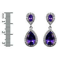 Pave Halo Clear & Purple Cubic Zirconia Dangle Rhodium Plated Earrings 31MM - $49.49