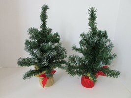 "Set Of 2 Christmas House 12"" Holiday Christmas Trees Snow Tipped With Bases - $3.42"
