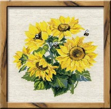 Cross Stitch Kit Riolis Flowers Sunflowers - $34.00