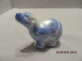 FENTON ART GLASS  2003 COBALT/MILK GLASS MARBLED SLAG POLAR BEAR FIGURINE - $75.00
