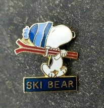 SKI BEAR Peanuts Snoopy Big Bear Blue Beanie Hat Souvenir Lapel PIN ~ Ca... - $14.99