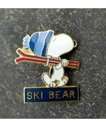 SKI BEAR Peanuts Snoopy Big Bear Blue Beanie Hat Souvenir Lapel PIN ~ Ca... - $14.99