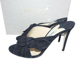 Jimmy Choo Navy Suede Keely Slide Mules 39.5 Sandal Bow Knot Shoes - $315.00