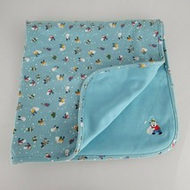 Vintage Baby Blanket Cotton Blue Winter Holiday Xmas Teddy Bear Snowman Tree - $79.19