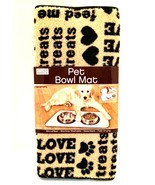Pet Bowl Mat Dogs Cats Absorbent Microfiber Black Tan Paws Hearts 20 in ... - $12.82